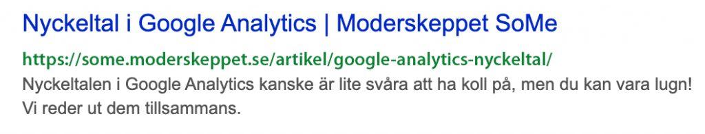 Skärmavbild från Google. Visar en länk till artikel om nyckeltal i Google Analytics.